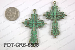 Pewter cross pendant 40x65 mm, patina finish PDT-CRS-6505