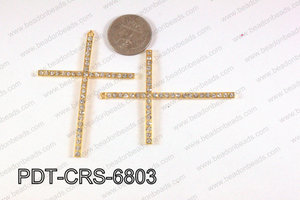 Pendant with rhinestones cross gold 51x68mm PDT-CRS-6803