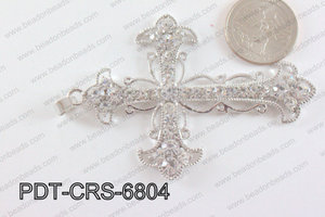 Cross Pendant with Rhinestone Light Silver 53x68mm PDT-CRS-6804