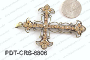 Cross Pendant with Rhinestone Bronze 53x68mm PDT-CRS-6806