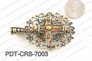 Cross Pendant with Rhinestone 46x70mm PDT-CRS-7003