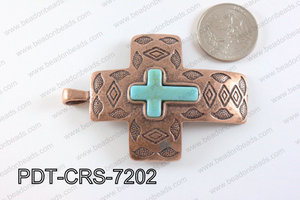 Howlite Turquoise cross with Copper Metal Pendant 15mm PDT-CRS-7