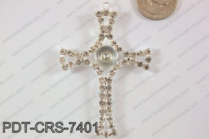 Cross Pendant with Turning crystal 52x74mm PDT-CRS-7401