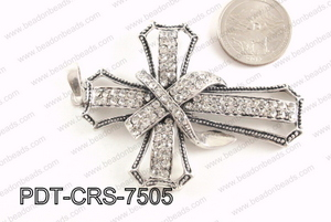 Cross Pendant with Rhinestone 52x75mm PDT-CRS-7505