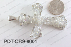 Cross Pendant with Crystal Clear 55x80mm PDT-CRS-8001