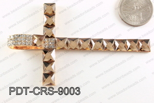 Cross Pendant with Rhinestone Brown 56x90mm PDT-CRS-9003