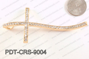 Cross Pendant with Rhinestone Rose Gold 48x90mm PDT-CRS-9004