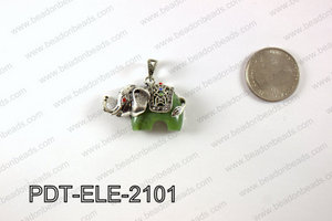 Pewter Canadian Jade Elephant Pendant 21X37MM PDT-ELE-2101