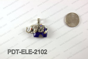 Pewter Lapis Elephant Pendant 21X37MM PDT-ELE-2102