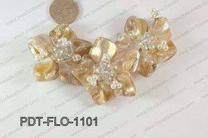 Flower Pendant Beige 110x70mm PDT-FLO-1101
