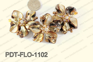 Flower Pendant Brown 110x70mm PDT-FLO-1102