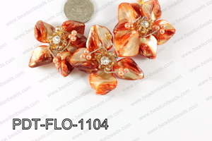 Flower Pendant orange 110x70mm PDT-FLO-1104