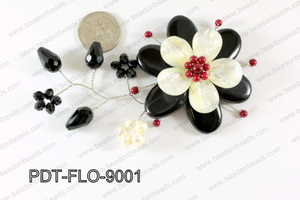 Flower Pendant Black 90x70mm PDT-FLO-9001