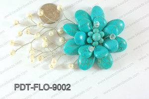 Flower Pendant Tuquoise 90x70mm PDT-FLO-9002