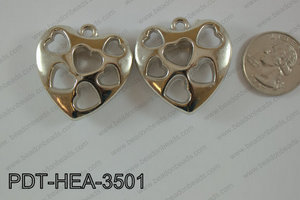 Metal Pendant Heart 300g Bag 35mm PDT-HEA-3501