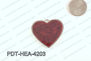 Metal Heart Pendant Red 38x42mm PDT-HEA-4203