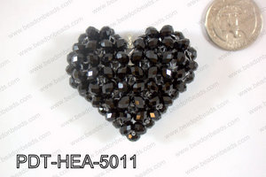 Angelic Crystal Heart Pendant 6mm Rondels 45x50mm Black PDT-HEA-