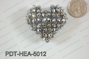 Angelic Crystal Heart Pendant 6mm Rondels 45x50mm Silver PDT-HEA