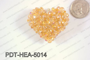 Angelic Crystal Heart Pendant 6mm Rondels 45x50mm Orange AB PDT-