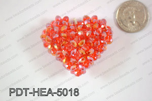 Angelic Crystal Heart Pendant 6mm Rondels 45x50mm Red AB PDT-HEA