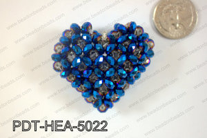 Angelic Crystal Heart Pendant 6mm Rondels 45x50mm Blue metallic