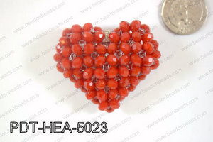 Angelic Crystal Heart Pendant 6mm Rondels 45x50mm Red opague PDT