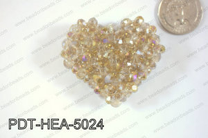 Angelic Crystal Heart Pendant 6mm Rondels 45x50mm Yellow ABPDT-H