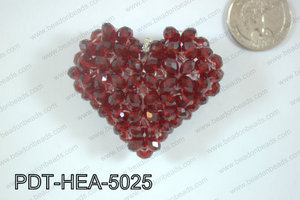 Angelic Crystal Heart Pendant 6mm Rondels 45x50mm RedPDT-HEA-502