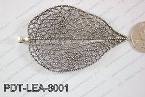 Metal Pendant Leaf 10pcs 80x50mm PDT-LEA-8001