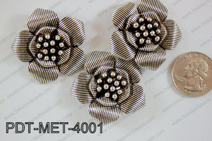 Metal Pendant Flower 15pcs 40mm PDT-MET-4001
