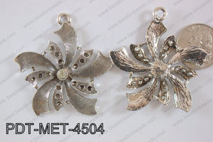 Metal Pendant Flower 12pcs 45mm PDT-MET-4504