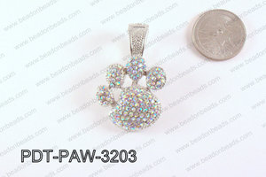 Metal Paw Pendant with Rhinestone Clear AB 32mm PDT-PAW-3203