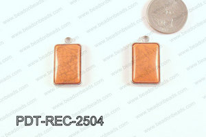 Metal Rectangle Pendant Orange 18x25mm PDT-REC-2504