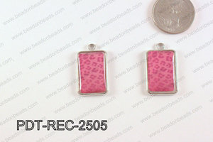Metal Rectangle Pendant Hot Pink 18x25mm PDT-REC-2505