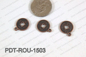 Coin Pendant Copper 15mm PDT-ROU-1503