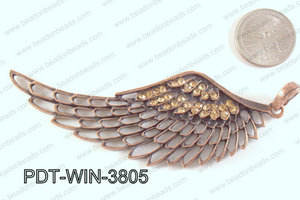 Metal Wing Pendant with Rhinestone Copper 103x38mm PDT-WIN-3805