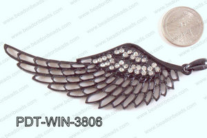 Metal Wing Pendant with Rhinestone Black 103x38mm PDT-WIN-3806
