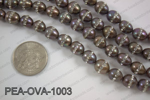 Freshwater pearl with cubic zirconia stones 10x12mmPEA-OVA-1003
