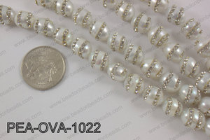 Freshwater pearl with cubic zirconia stones 10x12mmPEA-OVA-1022