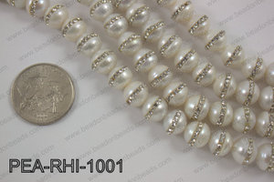 Freshwater pearl with cubic zirconia stones 10-11mmPEA-RHI-1001