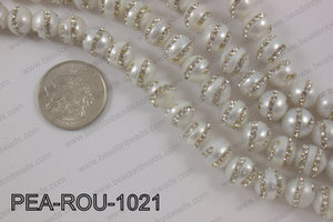 Freshwater pearl with cubic zirconia stones 10mmPEA-ROU-1021