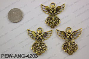 Pewter angel pendant gold 39x42mmPEW-ANG-4203