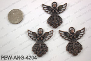 Pewter angel pendant copper 39x42mmPEW-ANG-4204