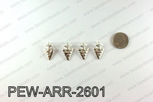 Pewter Arrow charms 26x15mm, Silver PEW-ARR-2601