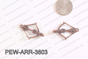 Pewter Arrow Charms Copper 25x36mm PEW-ARR-3603