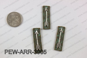 Pewter arrow bar pendant 11x 39 mm PEW-ARR-3905