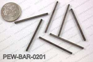 Pewter bar 2x40mm, gun metal PEW-BAR-0201