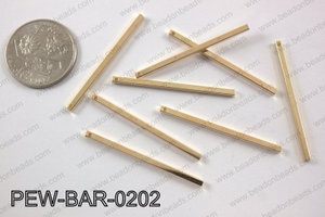 Pewter bar 2x40mm, light gold PEW-BAR-0202