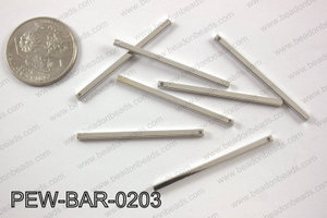 Pewter bar 2x40mm, silver PEW-BAR-0203
