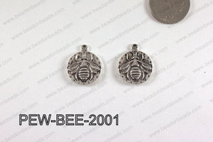 PEWTER CHARM BEE 20MM SILVER PEW-BEE-2001